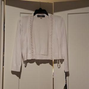 NWT white cropped KARL LAGERFELD cardigan